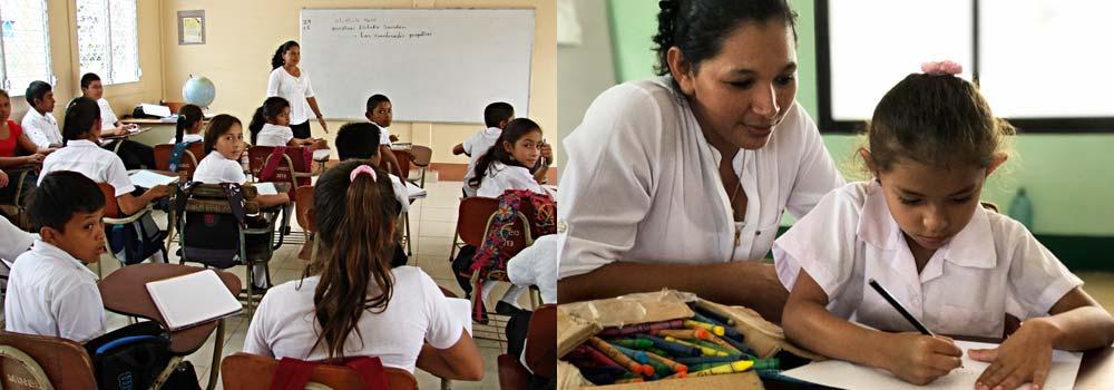 Schulkinder und Lehrerinnen in einer Schulklasse in Nicaragua